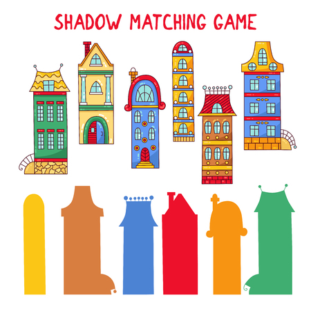 Shadow matching game with cute city buildings houses vector illustration
