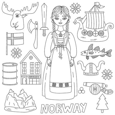 Norway norwegian symbols doodle line icons vector set