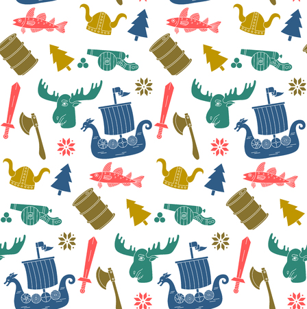 Norwegian norway viking symbols doodle seamless vector pattern Çizim