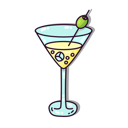 Alcohol drink martini cocktail with olive vector icon