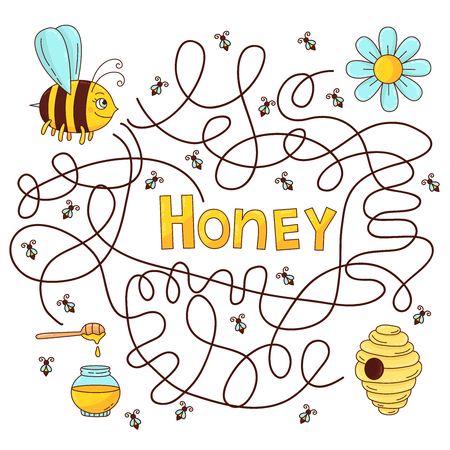 Bee honey labyrinth vector quiz for children educational game