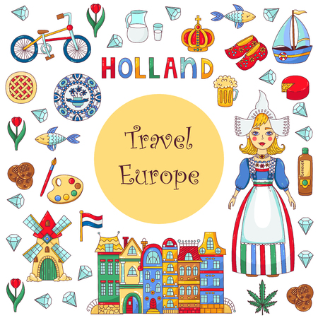 Hollande Pays-Bas icons set vector cartoon modèle de bannière