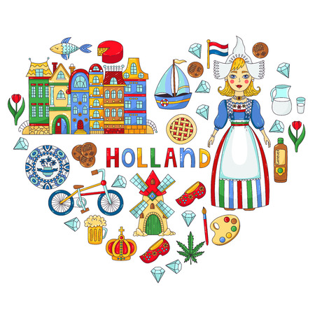 Holland Netherlands doodle colorful icons vector set