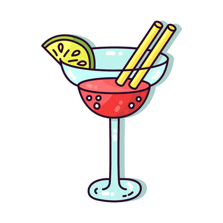 Cute cocktail vector illustration doodle cartoon icons Ilustrace