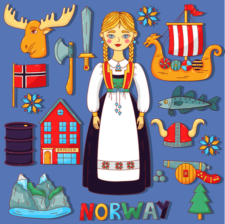 Norway Scandinavian doodle cartoon vector icons set Иллюстрация