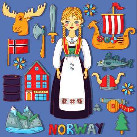 Norwegen skandinavische Gekritzelkarikatur-Vektorikonen eingestellt