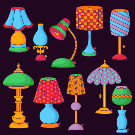 Cute electric lamps doodle cartoon icons colorful vector set Illustration
