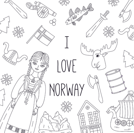 Norway doodle line traditional icons banner vector template