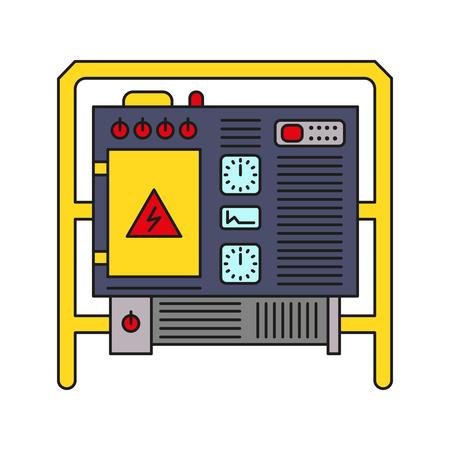 Generator accumulator thin line art colorful vector icon