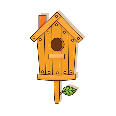 Wooden nesting box colorful cartoon cute vector icon
