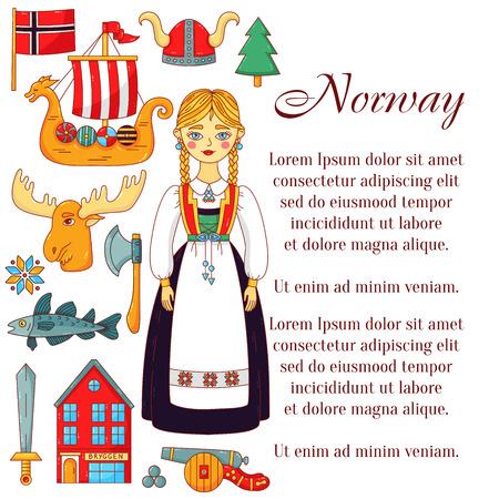 Norway doodle cartoon icons vector banner template Imagens - 121516680