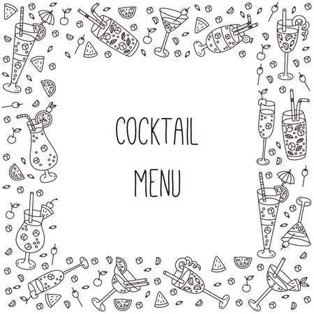 Cocktails doodle line icons square frame bar menu template vector