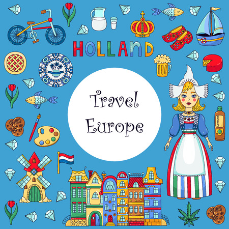 Holland Netherlands doodle cartoon icons vector set designed ad decorative frame Vettoriali