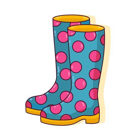 Rubber boots polka dot ornament cute colorful vector icon Çizim