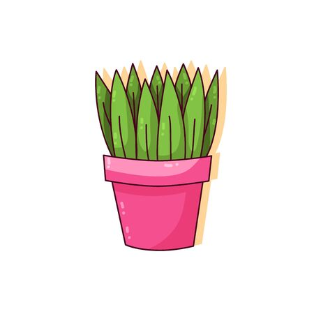 Cute house plant in pot colorful vector icon