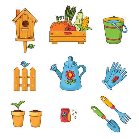 Gardening farming colorful cute cartoon icons vector set
