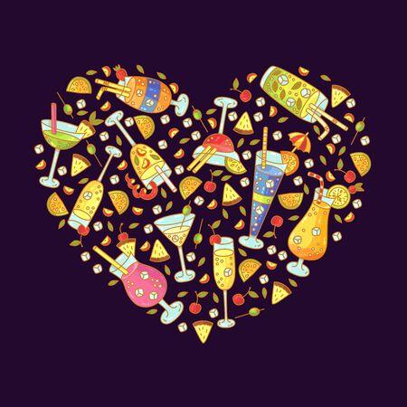 Cocktails drinks doodle cartoon icons heart shape design vector