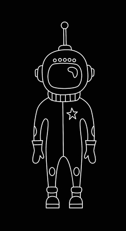 Astronaut doodle vector character isolated icon