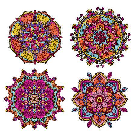 Mandala round doodle colorful vector illustration