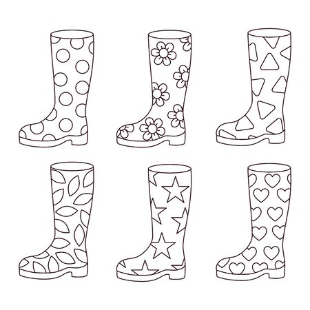 Rubber boots doodle line black and white vector icons set