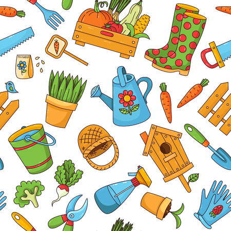 Gardening farming colorful cute cartoon isolated icons seamless vector pattern Stock Illustratie