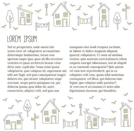 Village houses building doodle vector se article template Illustration