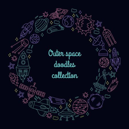 Cosmos outer space doodle line icons symbols round frame design