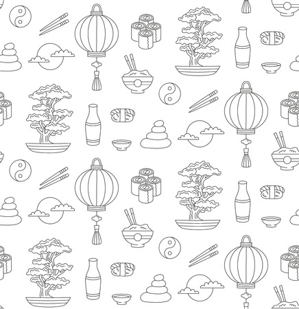 Japan doodle line icons seamless vector pattern