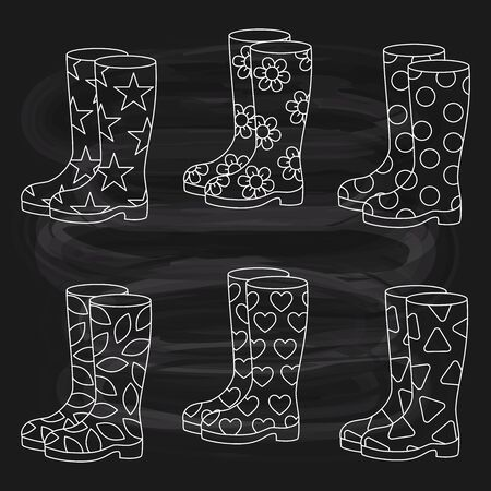 Rubber boots line doodle vector set  on chalk board background Ilustrace