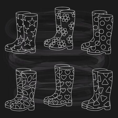 Rubber boots line doodle vector set  on chalk board background Illustration