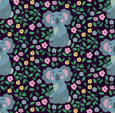 Koala animal with flowers seamless vector pattern