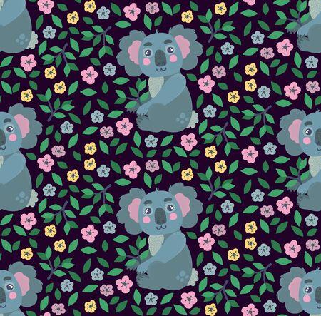 Koala animal with flowers seamless vector pattern