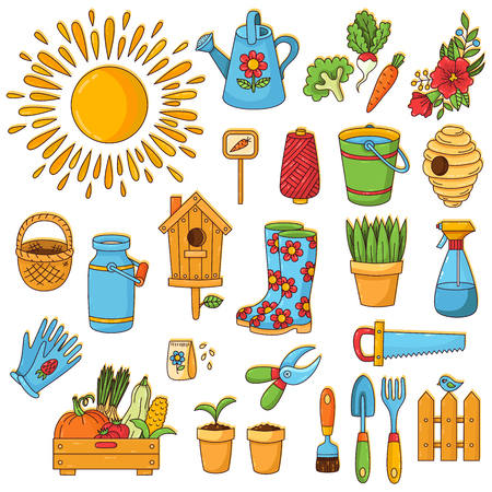 Gardening farming spring cute cartoon doodle icons set Stock Illustratie
