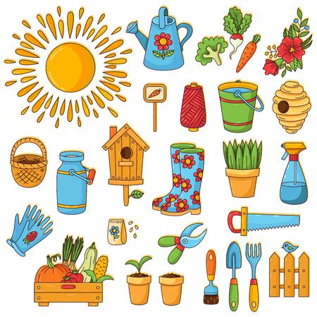 Gardening farming spring cute cartoon doodle icons set Illustration