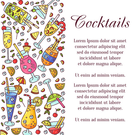 Cocktails bar drinks icons colorful cute banner vector template
