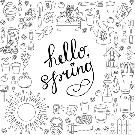Gardening farming spring doodle icons set round frame design