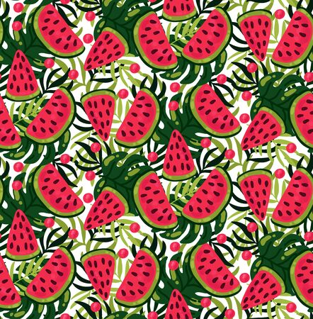 Watermelon colorful exotic summer seamless vector pattern 向量圖像