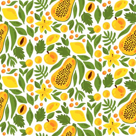 Papaya lemon peach mango fruits exotic tropic seamless vector pattern Ilustração