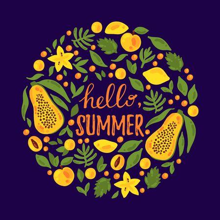 Exotic fruits doodle colorful round shape vector illustration design Ilustração