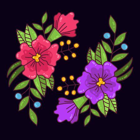 Flowers floral doodle blossom colorful vector illustration Ilustração