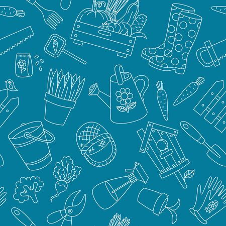 Gardening farming spring doodle icons seamless vector pattern