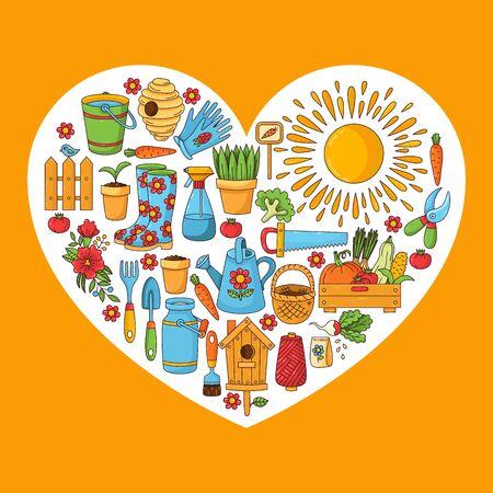 Gardening garden farm doodle cartoon icons vector set Illustration