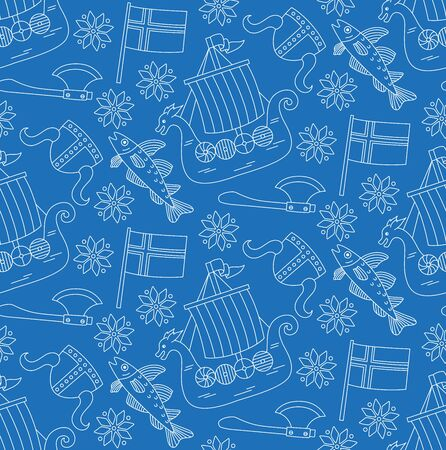 Norway scandinavia doodle line icons seamless pattern