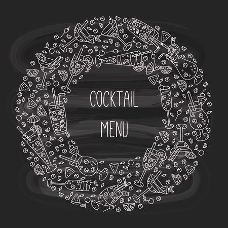 Cocktails doodle alcohol drinks round frame design Ilustração