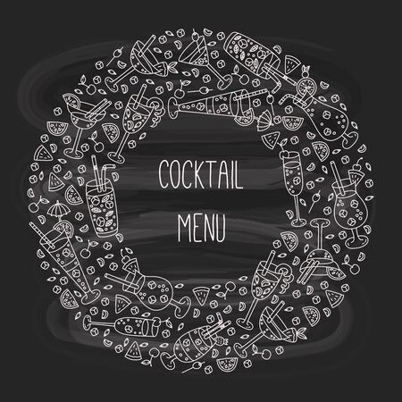 Cocktails doodle alcohol drinks round frame design Illustration