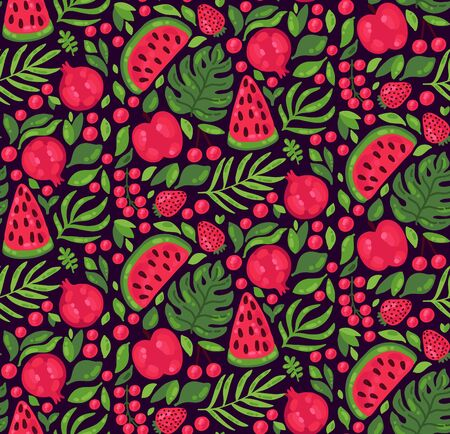 Exotic fresh red fruits and botanical leafs seamless vector pattern Illustration