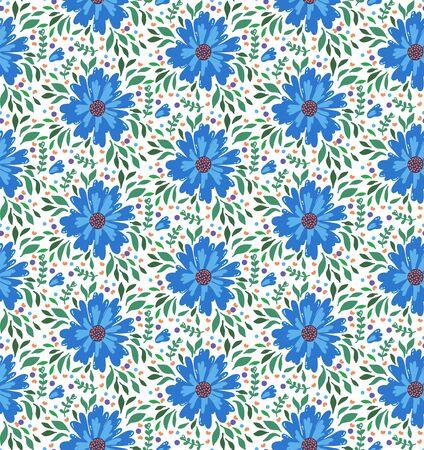 Flower botanical floral doodle seamless vector pattern Imagens