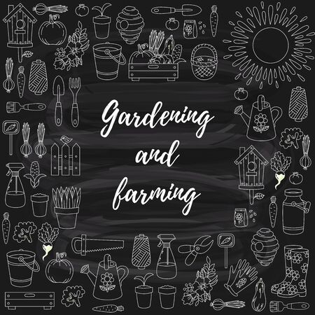 Gardening farming square frame vector design Stockfoto