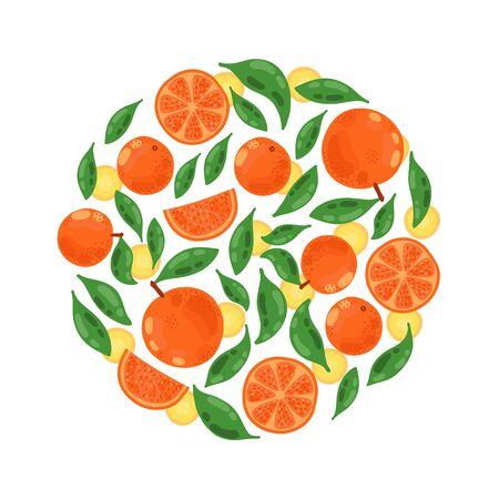 Orange mandarin fruits leafs tropical botanicval round shape vector design