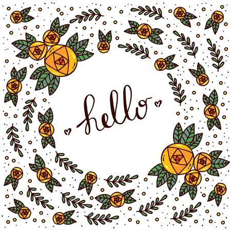 Doodle floral round shape decorative frame with flowers vector illustration